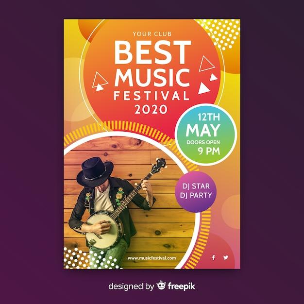 Plantilla póster de música abstracto colorido con foto vector gratuito