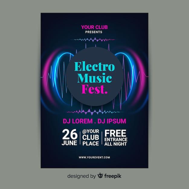 Plantilla de póster de música electrónica abstracta vector gratuito