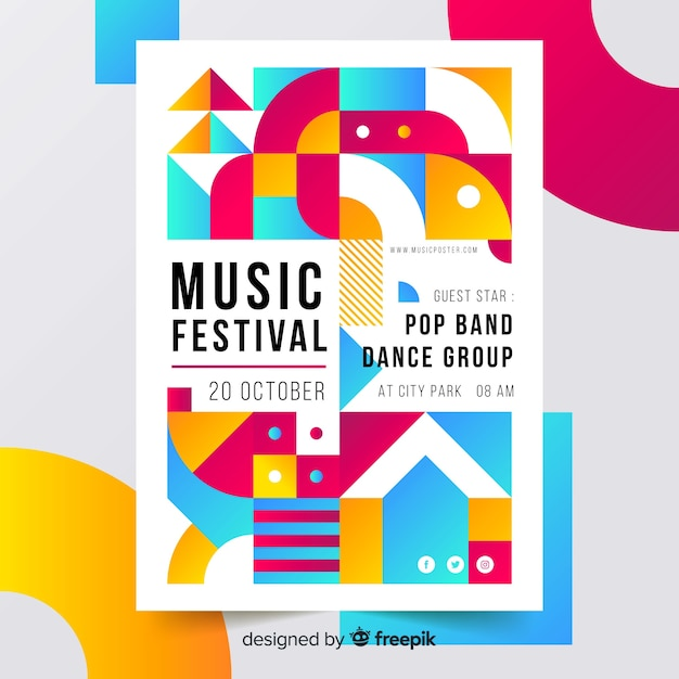 Plantilla de póster de música geométrica colorida vector gratuito