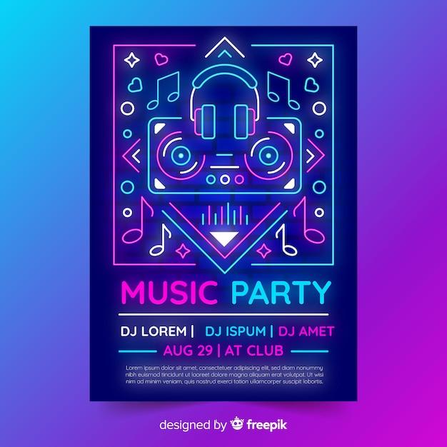 Plantilla de poster de música con luces de neón vector gratuito