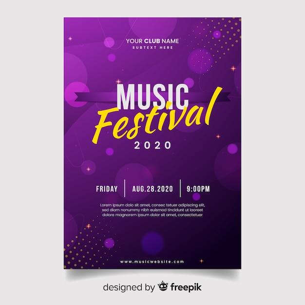 Plantilla de poster de música con luces vector gratuito