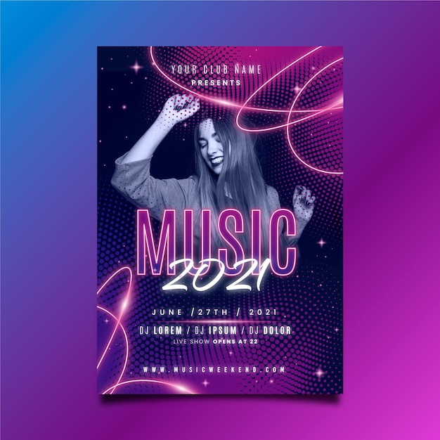 Plantilla de póster de música con mujer bailando vector gratuito