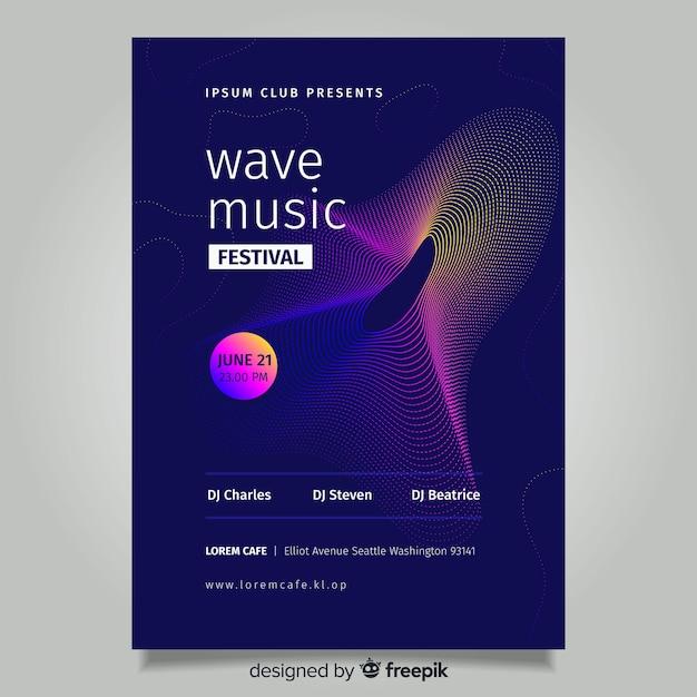 Plantilla de poster de música con onda abstract vector gratuito