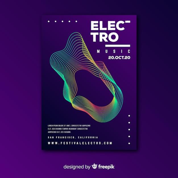 Plantilla de póster de música de ondas coloridas vector gratuito