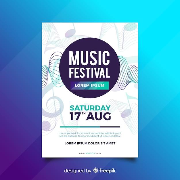 Plantilla de poster de música con ondas de sonido vector gratuito