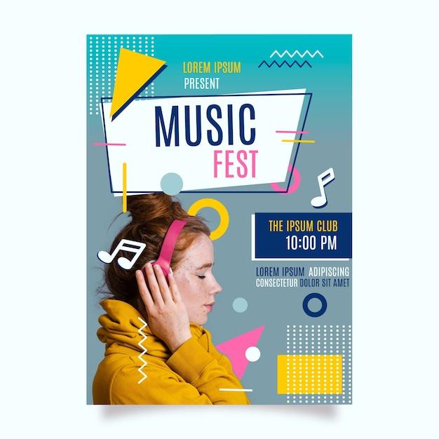 Plantilla de póster de música con plantilla vector gratuito