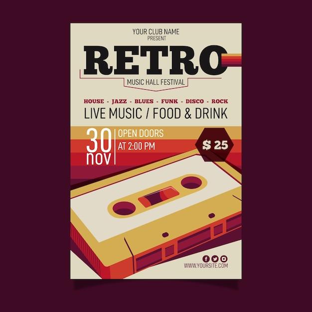 Plantilla de póster de música retro Vector Premium
