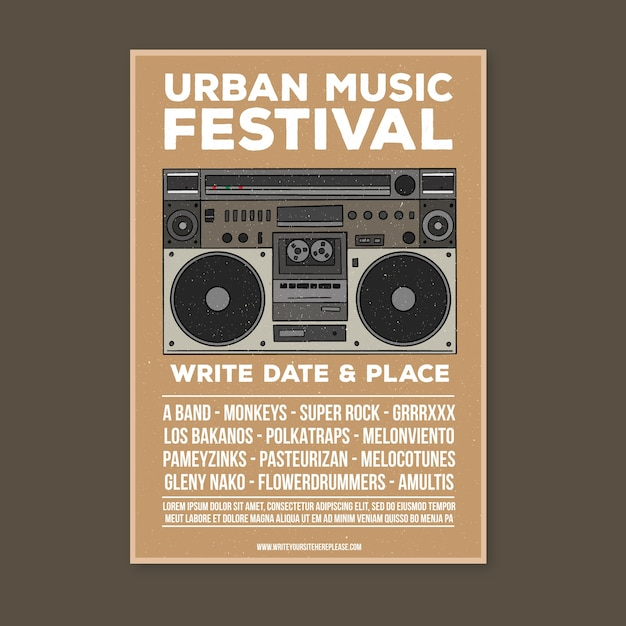 Plantilla de póster de música retro vector gratuito