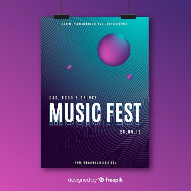 Plantilla de poster de música vector gratuito