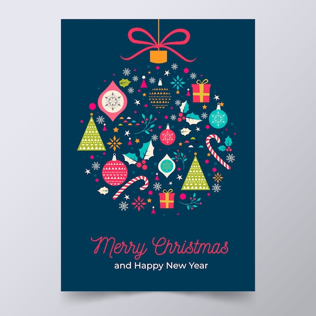 Plantilla de póster de navidad con coloridas formas geométricas vector gratuito