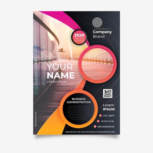 Plantilla de póster de negocios en estilo abstracto vector gratuito