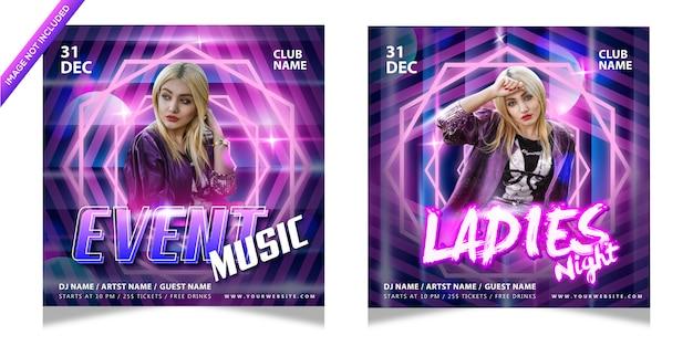 Plantilla de póster de noche musical para damas con efecto de texto editable colorido Vector Premium