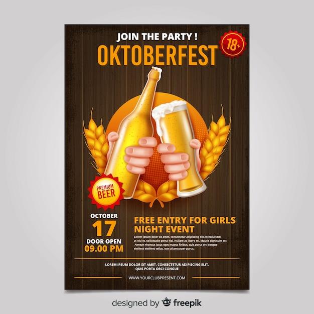 Plantilla de póster de oktoberfest realista vector gratuito