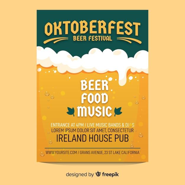 Plantilla de póster oktoberfest de vaso de cerveza vector gratuito