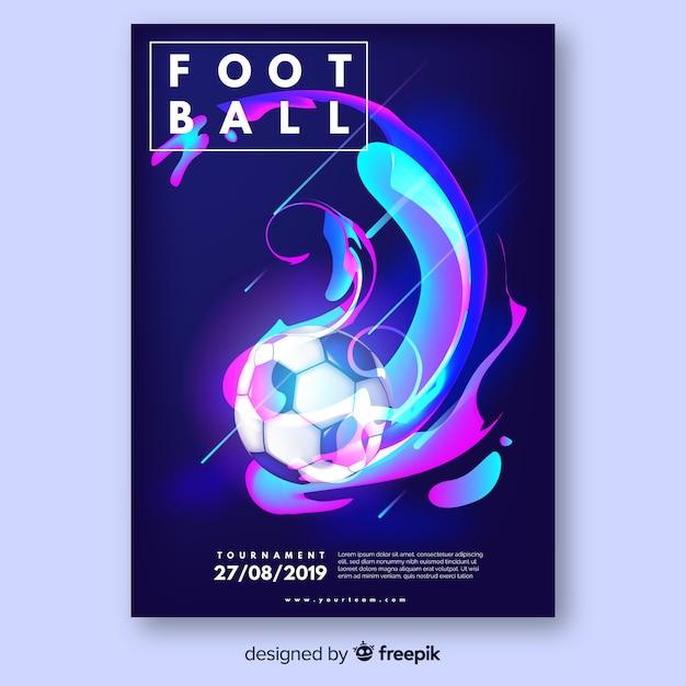 Plantilla de poster realista de pelota de fútbol vector gratuito