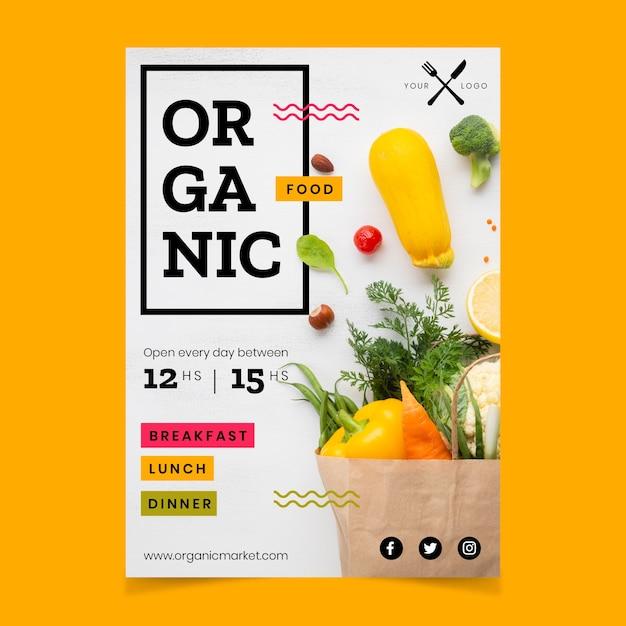 Plantilla de póster de restaurante de comida saludable con imagen vector gratuito