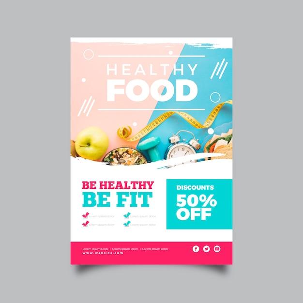 Plantilla de póster de restaurante de comida saludable vector gratuito