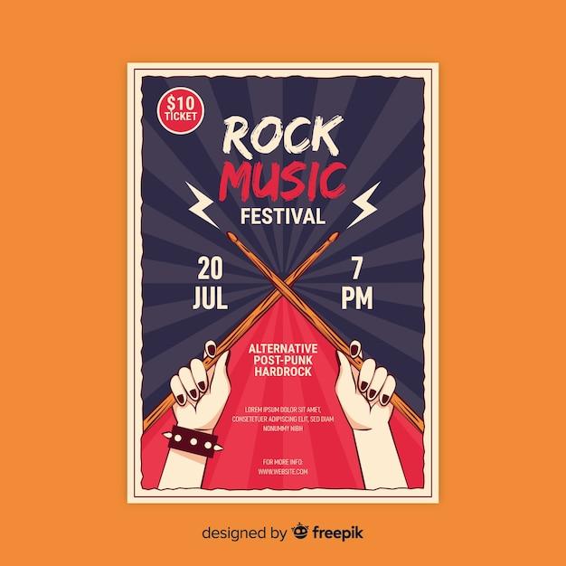 Plantilla de póster retro con música rock vector gratuito
