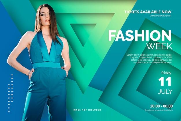 Plantilla de póster de la semana de la moda elegante vector gratuito