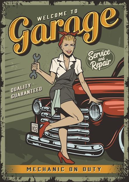 Plantilla de póster de servicio de garaje vintage con pin up chica mecánica vector gratuito
