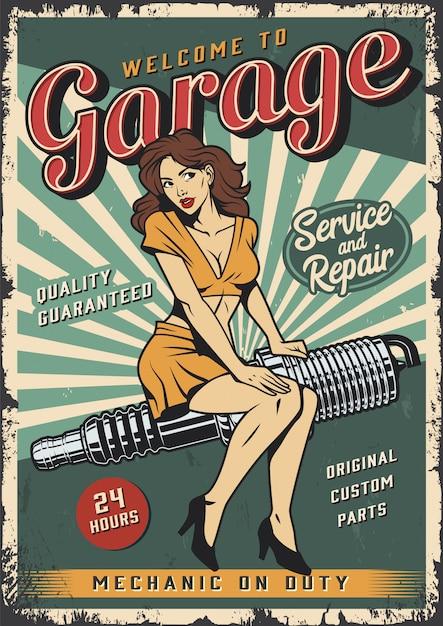 Plantilla de póster de servicio de garaje vintage con pin up girl vector gratuito