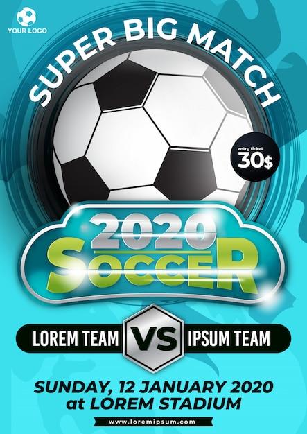 Plantilla de póster de torneo de copa de fútbol con diseño de moda Vector Premium