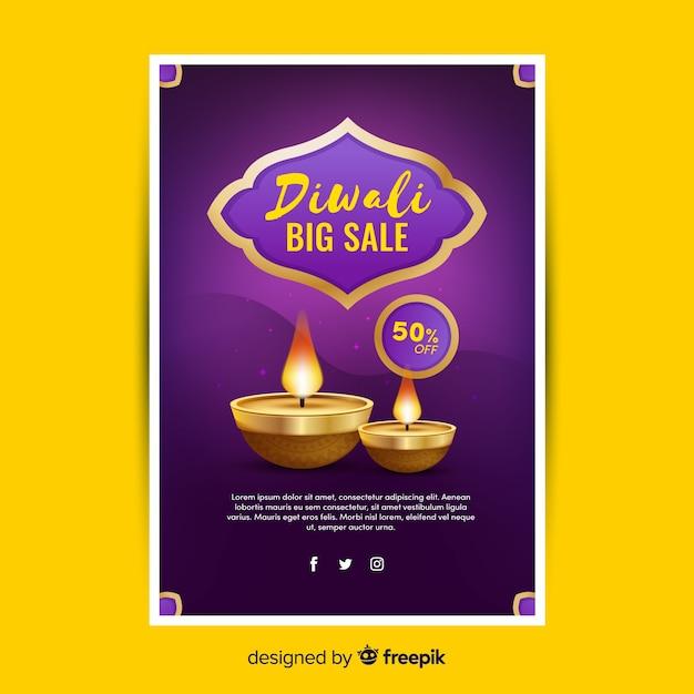 Plantilla de póster de venta diwali plana vector gratuito