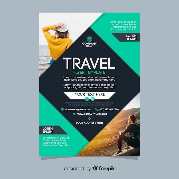 Plantilla de póster de viaje con foto vector gratuito