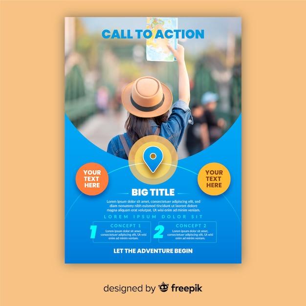 Plantilla de póster de viaje con viajero vector gratuito