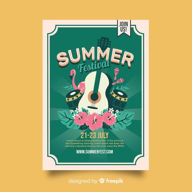 Plantilla De Poster Vintage De Festival De Musica Tropical Vector Gratis