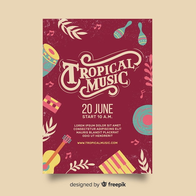 Plantilla De Poster Vintage De Festival De Musica Tropical