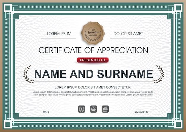 Plantilla de premio de certificado de reconocimiento de lujo. Vector Premium
