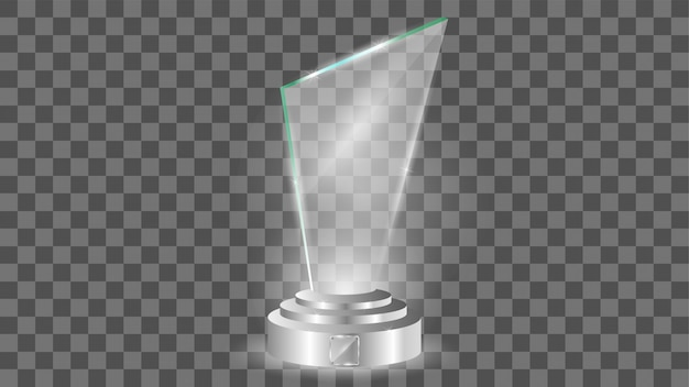 Plantilla de premio de vidrio, aislado en transparente Vector Premium