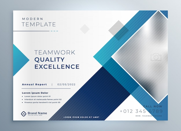 Plantilla de presentación azul de folleto de negocios modernos vector gratuito