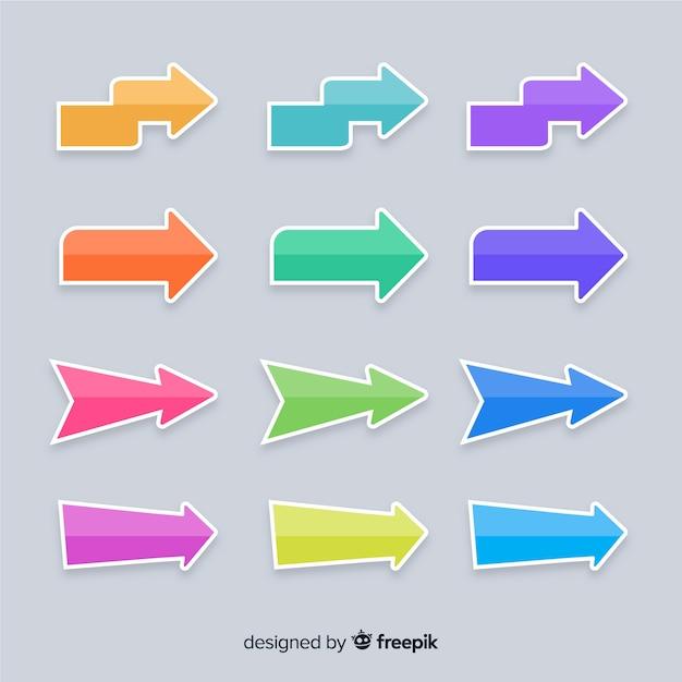 Plantilla de presentación de colección colorida flecha vector gratuito