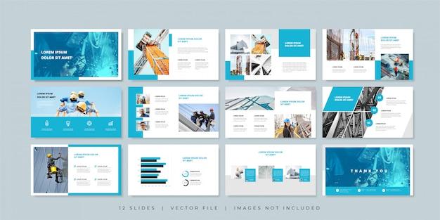 Plantilla de presentación de diapositivas mínimas de construcción. Vector Premium