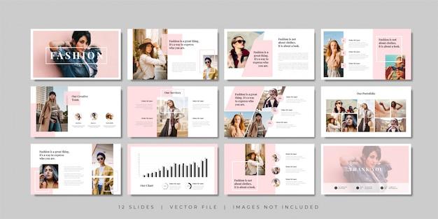 Plantilla de presentación de diapositivas mínimas de moda. Vector Premium