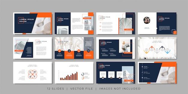 Plantilla de presentación de diapositivas mínimas de negocios. Vector Premium
