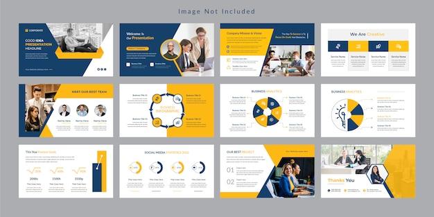 Plantilla de presentación de diapositivas de negocios amarillo. Vector Premium