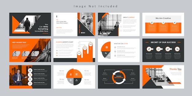 Plantilla de presentación de diapositivas de orange business. Vector Premium