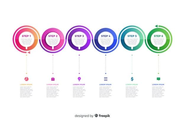 Plantilla de presentación de gradiente de pasos de infografía vector gratuito