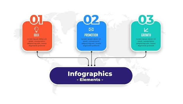 Plantilla de presentación de infografía moderna de tres pasos vector gratuito