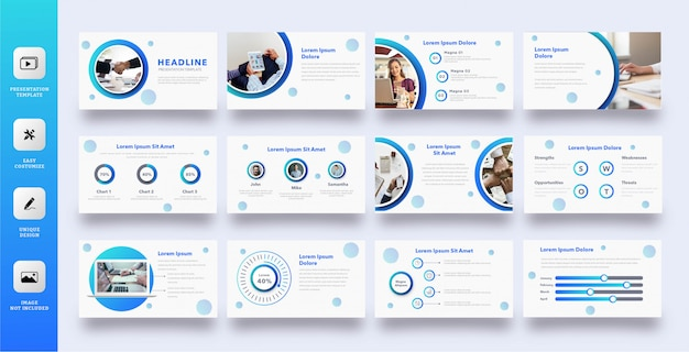 Plantilla de presentación multipropósito círculo azul moderno Vector Premium