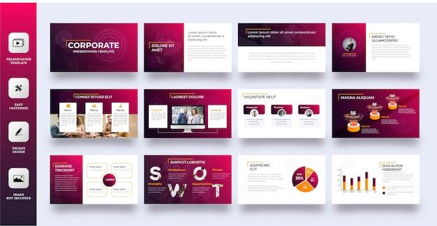 Plantilla de presentación multipropósito degradado moderno 12 páginas Vector Premium