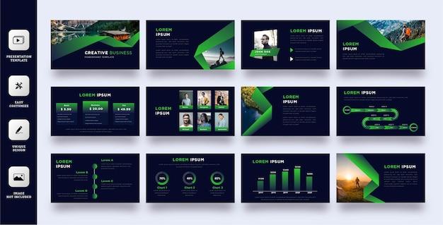 Plantilla de presentación de naturaleza verde Vector Premium