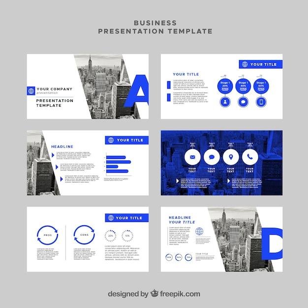 Plantilla de presentación de negocios en estilo plano vector gratuito