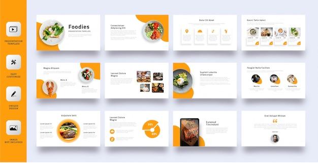Plantilla de presentación de negocios foodies Vector Premium