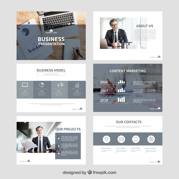Plantilla de presentación de negocios con foto vector gratuito