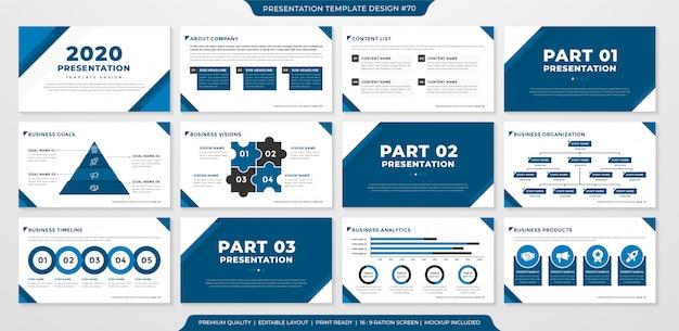 Plantilla de presentación de negocios minimalista Vector Premium