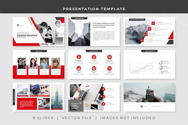 Plantilla de presentación de powerpoint empresarial de 9 diapositivas Vector Premium